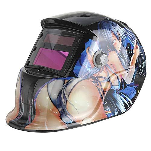 HLDUYIN Solar Powered Welding Helmet Auto Darkening Hood Welding Mask with Wide Lens Adjustable Shade Range DIN 49-13 for MIG TIG Arc Welder Grinding Mask Anime
