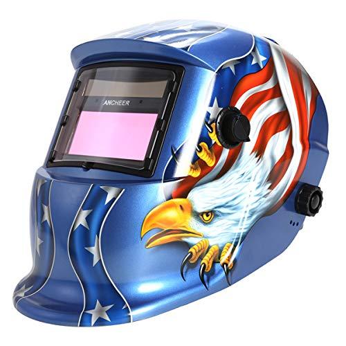Solar Powered Welding Helmet Auto Darkening Welding Hood with Wide Adjustable Shade Range 49-13 for TIG MIG ARC Weld Hood Helmet Blue