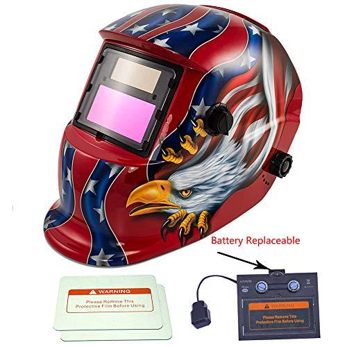 iMeshbean Red Eagle Design Solar Powered Welding Helmet Auto Darkening Hood with Adjustable Shade Range 49-13 for Mig Tig Arc Welder Mask with Backup Replaceable Battery