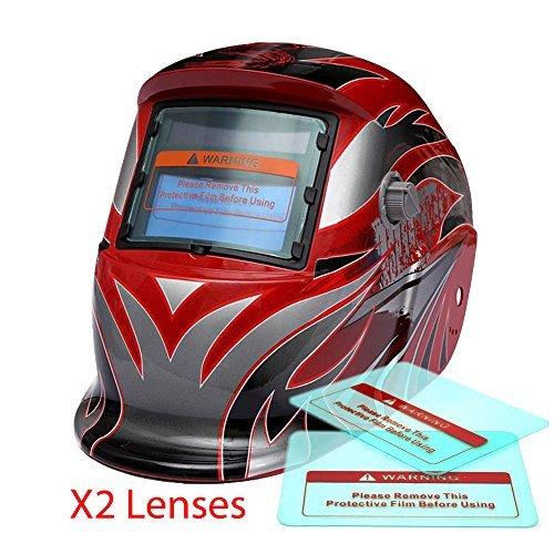 Proelectirc Viking Red Professional Auto Darkening Solar Powered Welders Welding Helmet Mask With Grinding Function