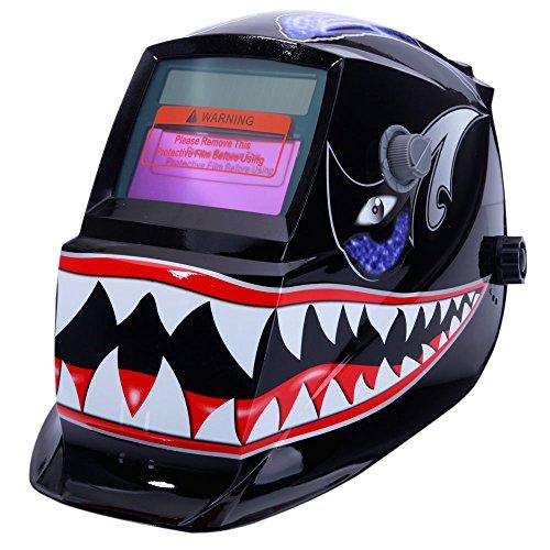 Z ZTDM Welding Helmet Mask Solar Auto DarkeningAdjustable Shade Range DIN 9-13Rest DIN 4Welder Protective Gear ARC MIG TIG2pcs Extra LensCR2032 Battery ANSI Z871 EN379 Approved Flame Shark