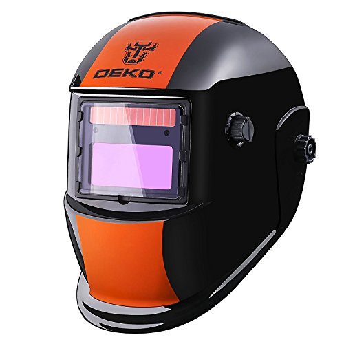 DEKOPRO Welding Helmet Solar Powered Auto Darkening Hood with Adjustable Shade Range 49-13 for Mig Tig Arc Welder Orange Black