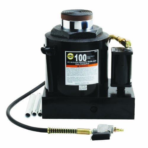 Omega 18992 Black Hydraulic Air Actuated Bottle Jack - 100 Ton Capacity