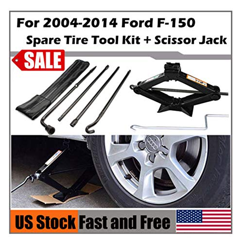 Tyre Repair Tool Kit for 2004-2014 Ford F-150 Spare Tire Tool Lug Wrench  2 Ton Scissor Jack with Handle Emergency Car Kit Pratical Tools