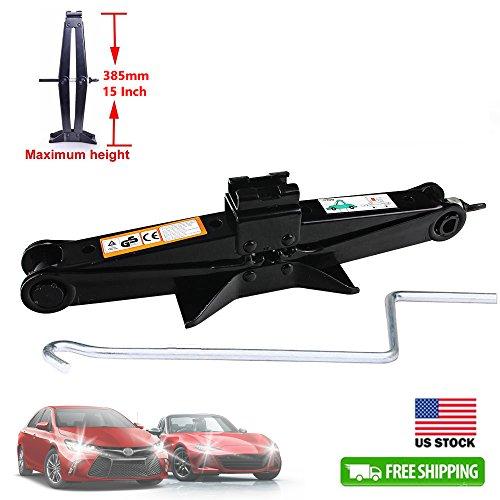 Car Scissor Jack Manual Hand Screw Steel Rustproof 2 Ton Capacity with Speed Handle - 1 Unit Black