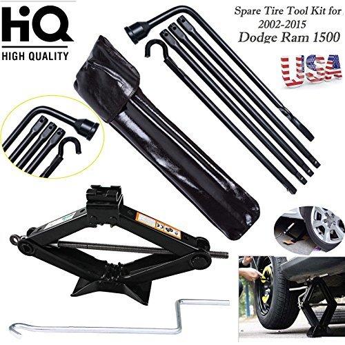For 2002 - 2015 Dodge Ram 1500 Lug Wrench Kit with Bag 2 Ton Scissor Jack - Spare Tire Tool Kit