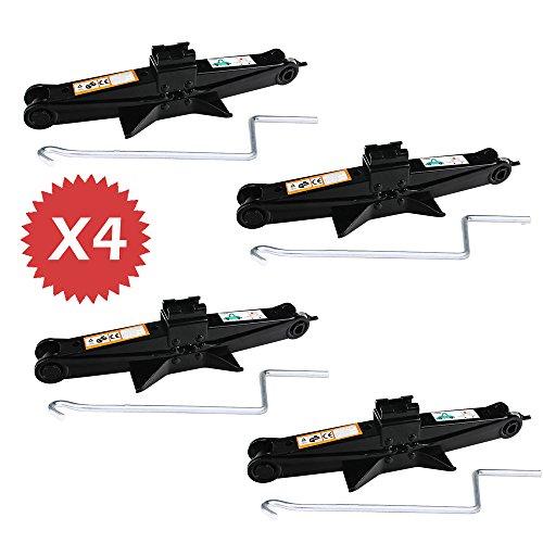 Set of 4 Scissor Jack Hand Screw with Crank Speed Handle for Car Van Break Down Home Garage Emergency - 2 Ton Capacity Each105-385MM Height