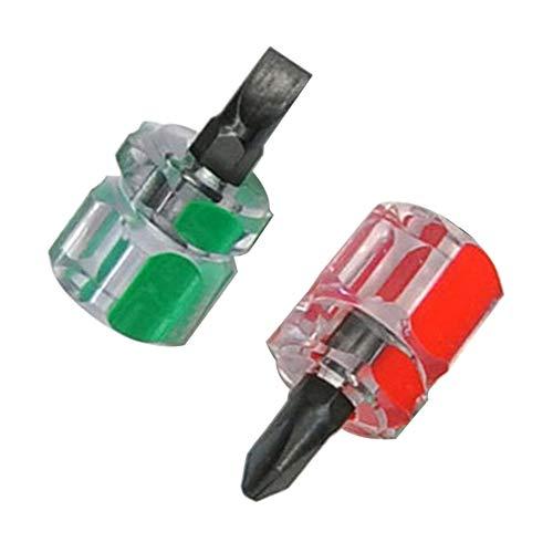 CONSTR Mini Screwdriver - 2Pcs Mini Pocket High Hardness Flat Cross Head Screwdriver DIY Repair Tools 2pcs