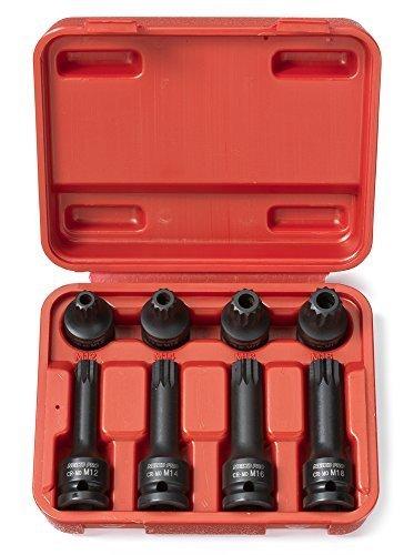 Neiko Pro10283B 12-Inch Drive XZN Triple Square Spline Driver Impact Socket Set  8-Piece Set by Ridgerock Tools Inc