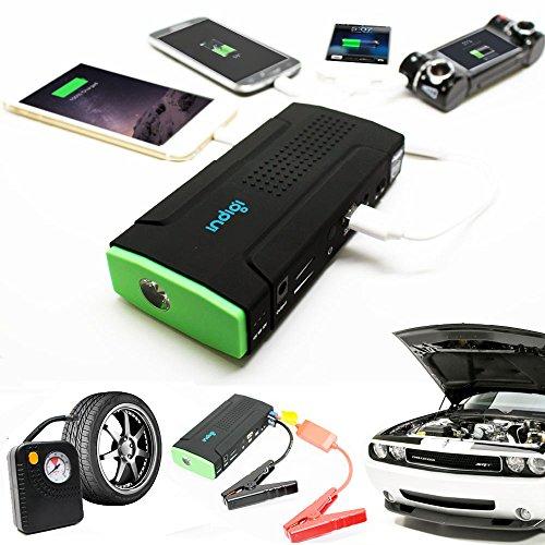Indigi Portable 12800mAh Emergency Vehicle Jump Starter Flat Tire Air Compressor Flat Tire Air Pump Power Bank Travel Kit