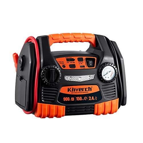 Kinverch Portable Car Jump Starter 900 Peak Amp 12 Volt with 1-USB 1-12V Power Ports 150 PSI Air Compressor