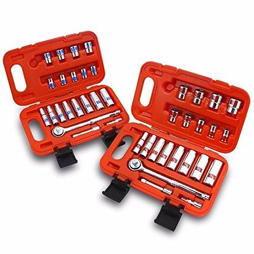 Generic utomotive Ca Auto Mechanic hanic Aut SAE Metric Kit Kit Auto 42PCS 38 Dr Hi-Viz t SAE Automotive Case iz Soc Socket Set