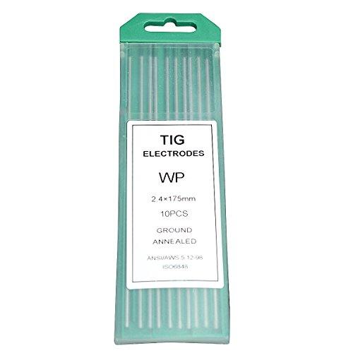 """Rstar TIG Welding Tungsten Electrodes Pure Tungsten 332"""" x 7"""" Green WP 10-Pack"""