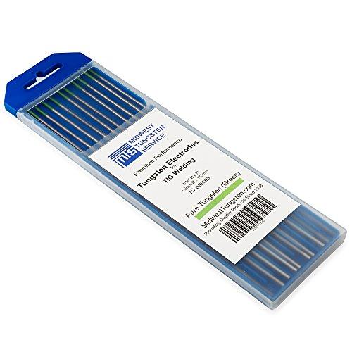"""TIG Welding Tungsten Electrodes Pure Tungsten 116"""" x 7"""" Green WP 10-Pack"""