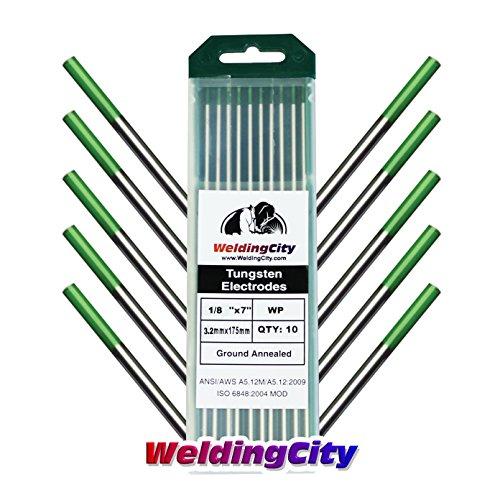 WeldingCity TIG Welding Tungsten Electrode Rod Pure Green Tip 18 X 7 10-pcsbox
