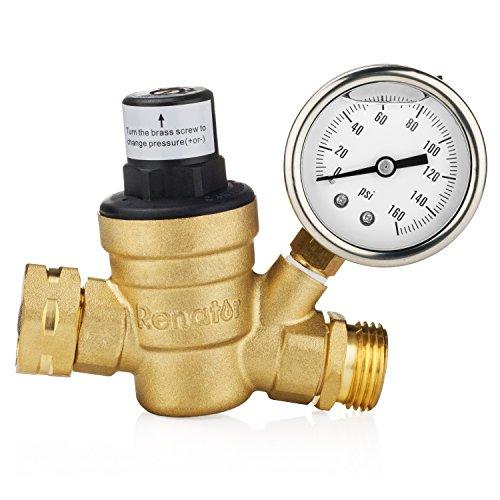 Renator M11-0660R Water Pressure Regulator Valve Brass Lead-Free Adjustable Water Pressure Reducer with Gauge for RV Camper and Inlet Screened Filter