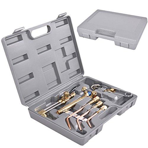 10 PCS Gas Welding Cutting Kit Oxygen Torch Acetylene Welder Tool Set w Case