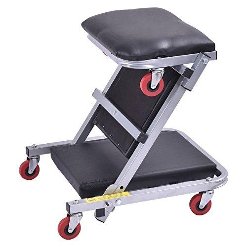 Goplus 40 Foldable Z Creeper Seat Rolling Chair Mechanics Garage 2 In 1 Work Stool