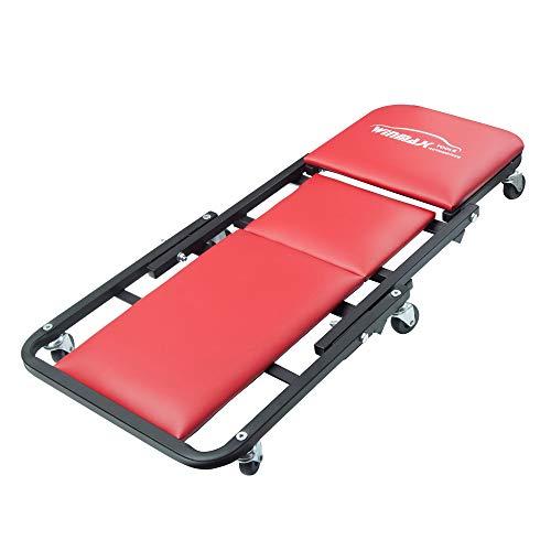 WINTOOLS 41 Foldable Heavy Duty Z Creeper Seat Rolling Chair Mechanics Garage 2 in 1 Work Bench