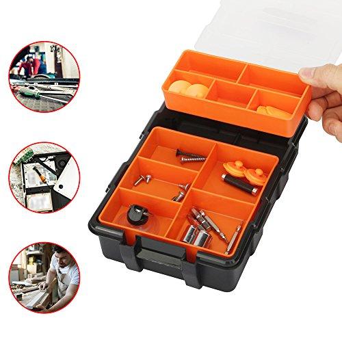TOOLTOO Heavy-duty Tool Storage Box Organizer Detachable 10 Slots Plastic Tool Storage Box Two-layer Components Storage Box Black and Orange