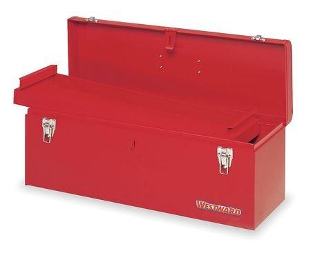 Westward 10J162 Portable Tool Box 24 Wx 8 Dx 9 H Stl Red