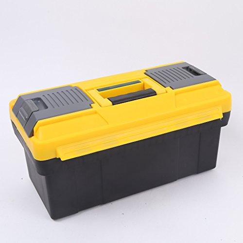 Wotefusi Tool Box 17 inch Yellow Portable Plastic Metal Lockable Garage DIY Parts Storage Organizer