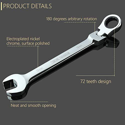 Value-Trade-Inc - 17mm Ratchet Handle Wrench Geared Spanner Set Open End Torque Ring Flexible Ratchet Wrench Keys Set Chrome Vanadium Spanner