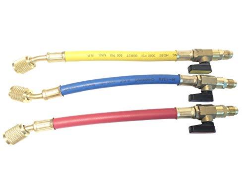 GooMeng4S 3pcs R134A R410A R22 R12 Manifold Gauge Set AC Refrigeration Charging Hose High Pressure HVAC Refrigerant Charging Hoses Set with Ball Valve