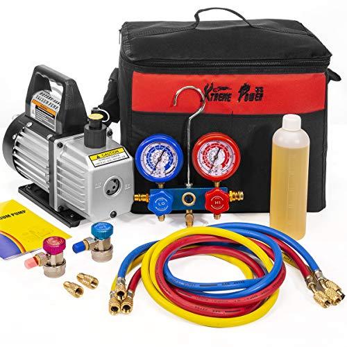 XtremepowerUS 3CFM 14HP Air Vacuum Pump HVAC R134a R12 R22 R410a AC Refrigeration Kit AC Manifold Gauge Carrying Tote