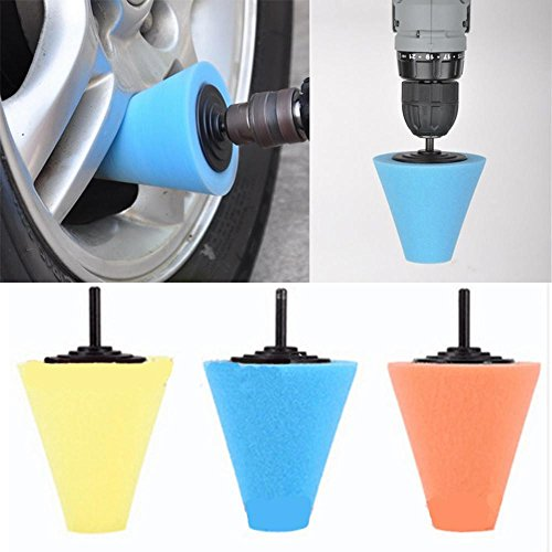 Polisher Buffer Sponge FTXJ 6MM Cone Foam Buffing Polishing Waxing for Car Auto Wheel Hub