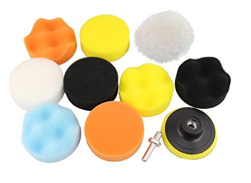 Leadrise Buffing Polishing Pads Kit11pcs 380mm Buffing Sponge Pads Kit for Car Sanding Polishing Waxing Sealing Glaze 9 Polishing Pads1 Woolen Buffer1 Thread Drill Adapter with Shank