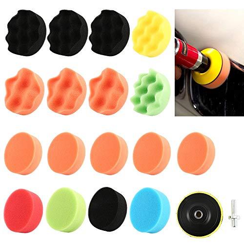 Otsale 19PCS 3 Inch Polishing Pad Sponge Buff Buffing Kit Set For Car Polisher 80mm