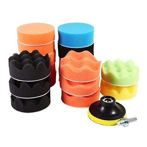 Qiilu 19Pcs 3 Sponge Polishing Waxing Buffing Pads Kit Foam Polish Pad Set for Car Polisher M10 Drill Adapter HOOK LOOP Foam Polishing Disc