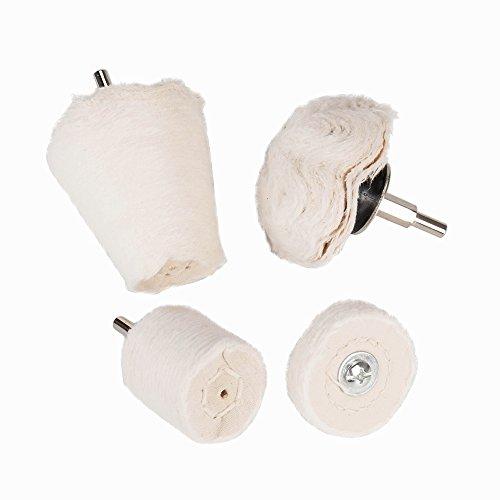 Santu White Flannelette Polishing Buffing Kit for Aluminum  Mag WheelsStainless Steel Chrome Ceramic WoodGlassetc — 4Pcs Conical Cylindrical Mushroom Shaped  Wheel