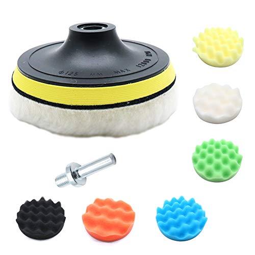 Yohii 7Pcs Buffing Pads Kit 5 Inch Buffing kit with 6 Polishing pad Wool Buffing Pad Backing Plate