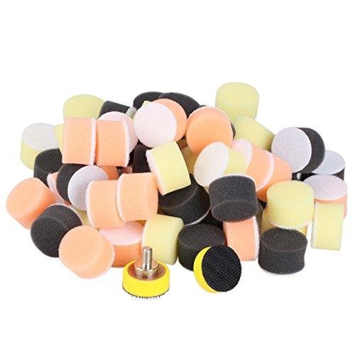 """ZFE 62pcs 1""""25mm Buffing Sponge Pads Kit for Car Sanding Polishing Waxing 60 Polishing Pads2Pcs M6 Thread Backer plate"""