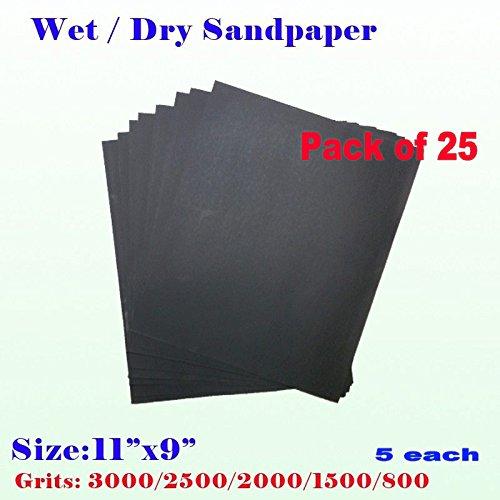 Pack of 25 11 x 9 Wet Dry Sandpaper Sanding Paper Abrasive Assorted Grits 8001500200025003000 5 each Grit Finishing  Auto Body  Sand Paper Full Sheet
