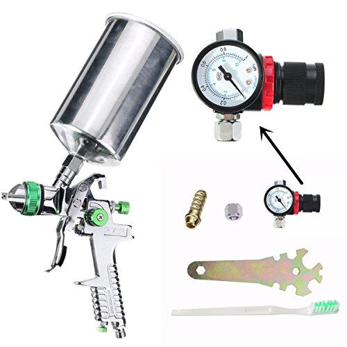 14mm 600cc HVLP Gravity Feed Spray Gun Kit Auto Paint Primer Metal Flake with Regulator