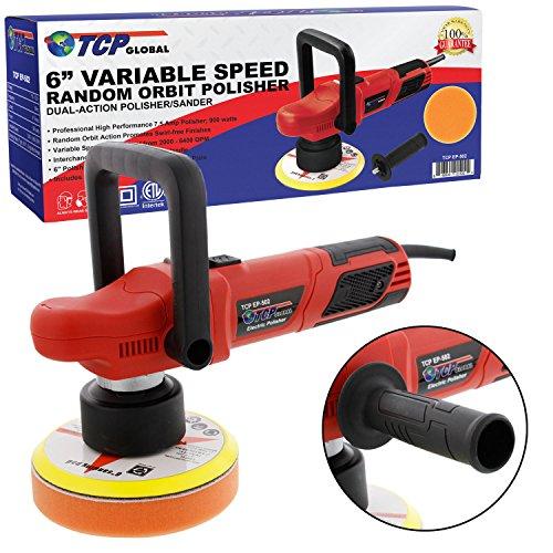 TCP Global 6 Variable Speed Random Orbit Dual-Action Polisher Professional High Performance - Buff Polish Detail Car Auto Paint