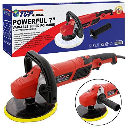 TCP Global 7 Professional High Performance Variable Speed Polisher with a Powerful 12 Amp 1200 Watt Motor - Buff Polish Detail Car Auto Paint