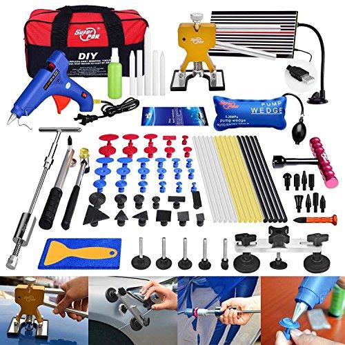 FLY5D 74 Pcs Car Body Paintless Repair Removal Tools Automotive Door Ding Dent Silde Hammer Glue Puller Repair Starter Set Kits For Car Hail Damage And Door Dings Repair