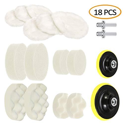 5 Inch&3 Inch Drill Buffing Sponge Pads Car Foam Woolen Polishing Pads Kit for Car Buffer Polisher Sanding Waxing Sealing Glaze 18 PCS14 Pads2 Drill Adapters2 Suction Cups