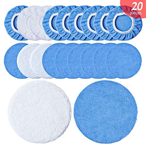 OTUAYAUTO Microfiber Polishing Bonnets 20Pcs - Orbital Buffer 5-6 inch Polisher Pad Cover - Car Waxing Applicator Bonnet