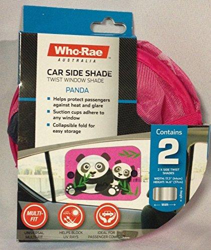 Who-Rae Twist Car Side Window Shade Pink w Panda Set of 2