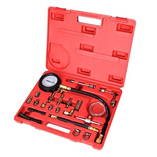 PanelTech 21pcs 140PSI 10 Bar Fuel Injection Pump Pressure Injector Tester Test Pressure Gauge Test Tool Gasoline Cars