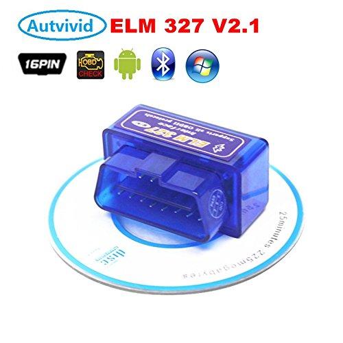 Autvivid Car Scan Tool Scanner Mini ELM327 Bluetooth Wireless OBD2 II For Android Windows PC Thinkpad Dell HP ASUS Toshiba Lenovo Samsung ELM 327
