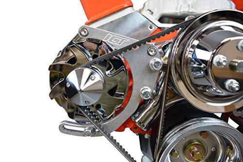 ICT Billet SBC Adjustable Alternator Bracket Low Mount Kit Compatible with Small Block Chevy 305 327 350 50L 57L V8 Long Water Pump for V Belt 551672