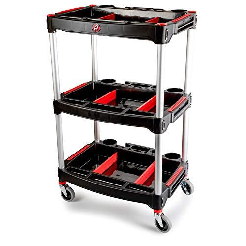 Adams Standard Detailing Cart - Custom Mobile Rolling Utility Detailing Tool Cart Organizer For Garage DIY Home Projects - Extra Storage Shelving For Mechanics Detailers During Repairs Car WashWax