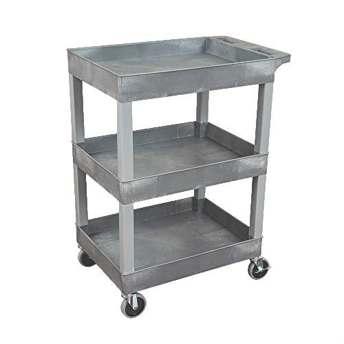 Luxor SEC111-G 24 x 18 Plastic Utility Tub Cart- Three Shelf- Gray