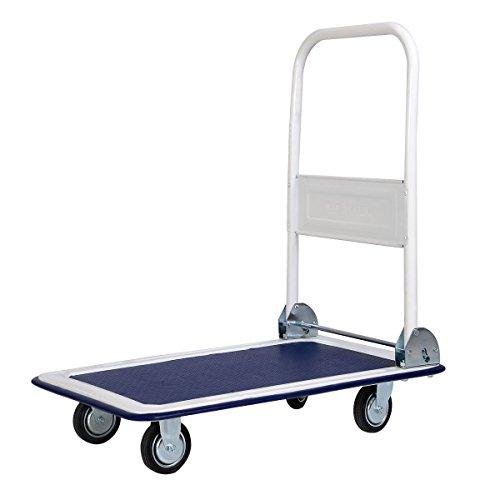 GHP 330Lbs Capacity Warehouse Push Hand Truck Foldable Platform Cart Dolly
